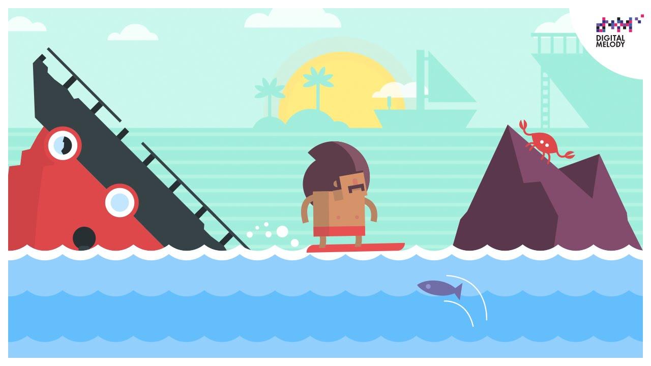 Ein rasantes Highscorespiel mit cooler Musik: Surfingers