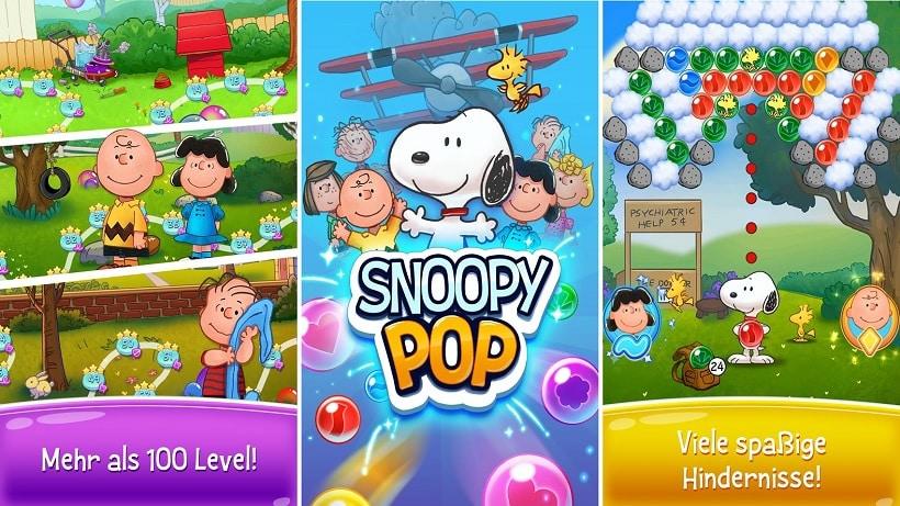 Es gibt neue Spielwelten im süßen Game Snoopy Pop