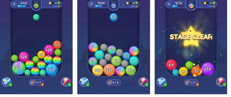 Merge Bubbles 2048  ist ein Mix aus Merge-Game und Bubble Shooter