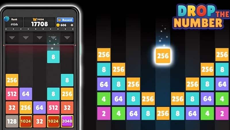 Drop The Number erinnert an das Spiel 2048 - oder auch an Tetris