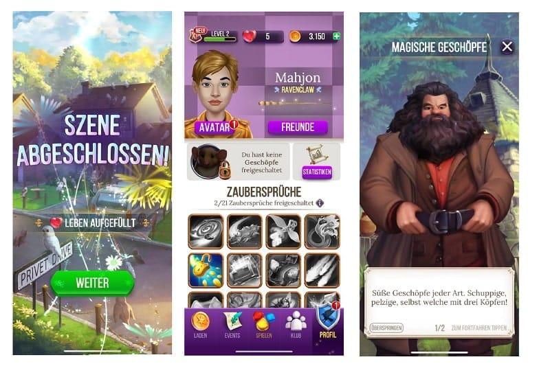 Kostenlose Spiele-Apps - das sind Bilder zum Spiel Harry Potter - Rätsel und Zauber