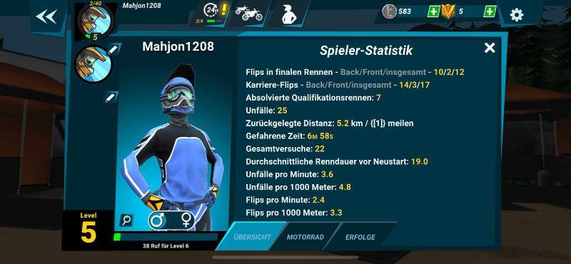 Mad Skills Motocross 3 bietet euch eine gute Statistik