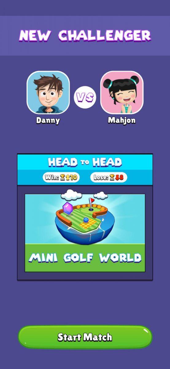 Mini Golf Worlds lässt euch gegen fremde Spieler oder gegen eure Freunde antreten.