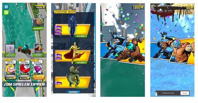 Kostenlose Spiele-Apps - das sind Bilder zum Spiel Super Hero Flying School